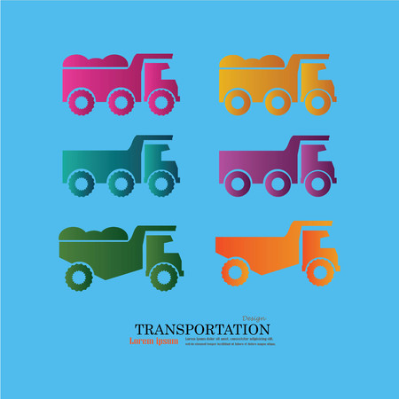 ore: classic dump truck logo, emblems, badges,restoration and club design elements. Vector illustration.