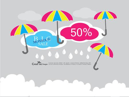 sale banner or poster of Monsoon season offer. Vector illustration Vektorové ilustrace