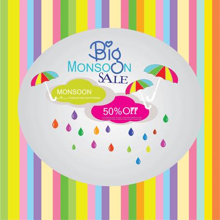 monsoon: sale banner or poster of Monsoon season offer. Vector illustration