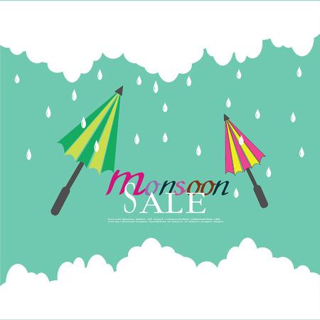 sale banner or poster of Monsoon season offer. Vector illustration