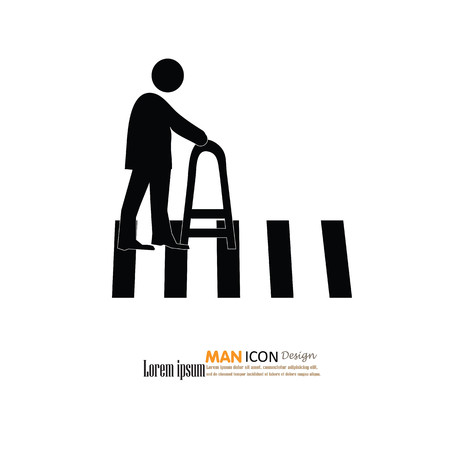 crosswalk: The Elderly On The Crosswalk Symbol .Vector Illustration.