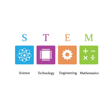 Vector illustratie van Science, Technology, Engineering en Math onderwijs