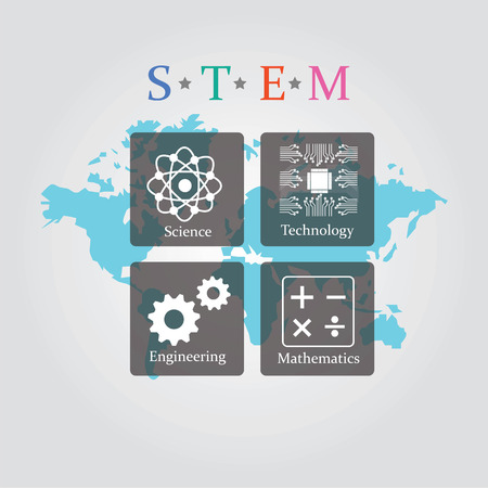 engineering and technology: Vector illustration of Science, Technology, Engineering and Math education