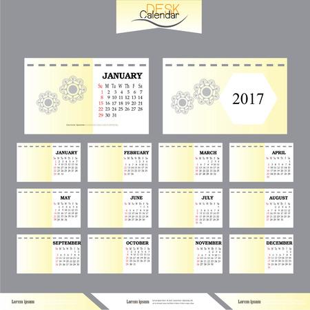 desk calendar: desk calendar 2017.Calendar for 2017. Vector illustration. Illustration