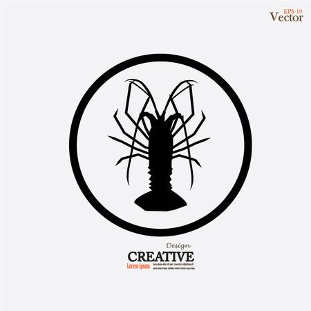 Lobster icon illustration.