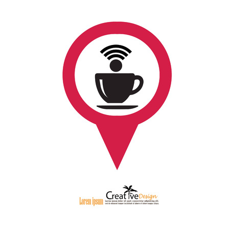 Coffee cup icon with wifi symbol.illustration.