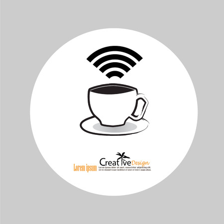 cybercafe: Coffee cup icon with wifi symbol.illustration.