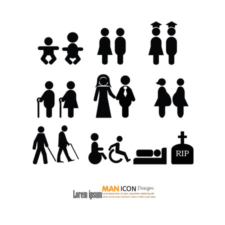 human age: Man Aging .Age Human Life ,Young Growing, Old Process Stage Development Stick. Figure Pictogram Icon.illustration.