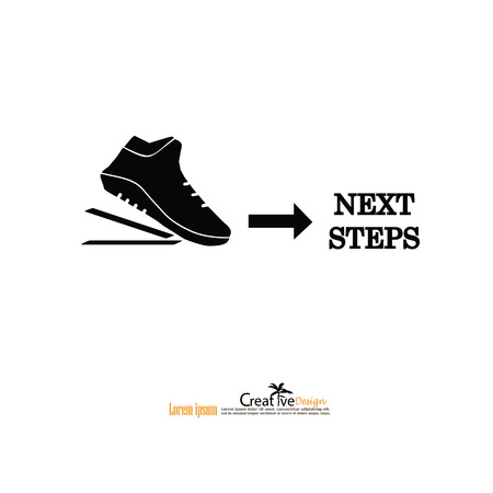 footprint with the word next step.business concept .vector illustration.