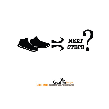 guess: footprint with the word next step.business concept .vector illustration.