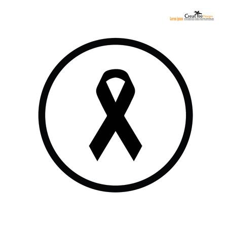 Black awareness ribbon. Mourning symbol.