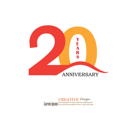 Template logo 20th anniversary. 20 years anniversary logo. Celebration 20 years. .20 birthday symbol.vector illustration. Иллюстрация