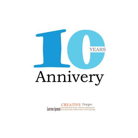 10 years: Template logo 10th anniversary. 10 years anniversary logo. Celebration 10 years. .10 birthday symbol.vector illustration.