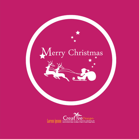 Santa with reindeer and sled.christmas concept.vector illustration.