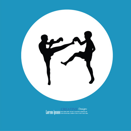 kickboxing: Muay Thai (Thai Boxing).thai kick boxing.vector illustration.