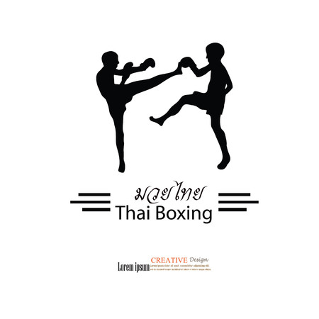 knockdown: Muay Thai (Thai Boxing).thai kick boxing.vector illustration.