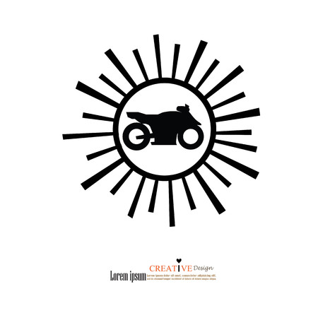 motorcycle icon with sun ray.Motorcycle symbol.vector illustration.eps10.  イラスト・ベクター素材