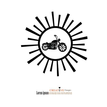 icono de la motocicleta con el rayo de sol. Símbolo de Moto.vector illustration.eps10.