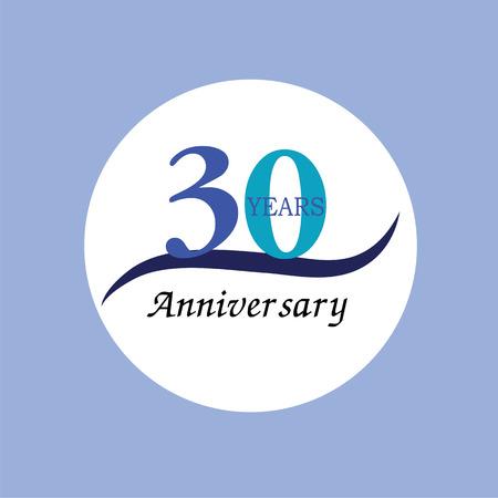 30th: Template logo 30th anniversary. 30 years anniversary logo. Celebration 30 years.30 birthday symbol.vector illustration. Illustration