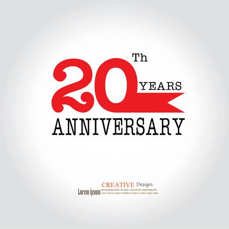Template logo 20th anniversary. 20 years anniversary logo. Celebration 20 years.20 birthday symbol.vector illustration. Stock Illustratie