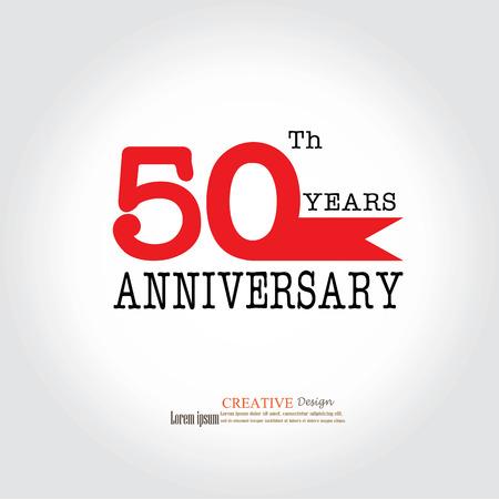 50 years anniversary: Template logo 50th anniversary. 50 years anniversary logo. Celebration 50 years.50 birthday symbol.vector illustration.