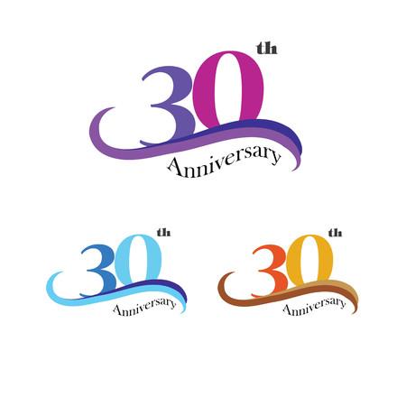 30th: Template logo 30th anniversary. 30 years anniversary logo. Celebration 30 years.30 birthday symbol.vector illustration. Stock Photo