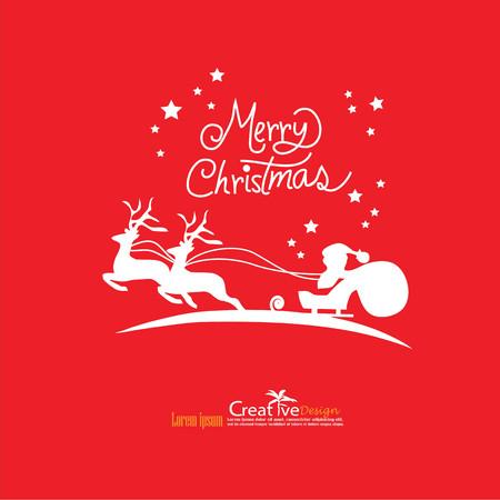 christmas design on red backgroun.christmas concept.vector illustration.eps10.