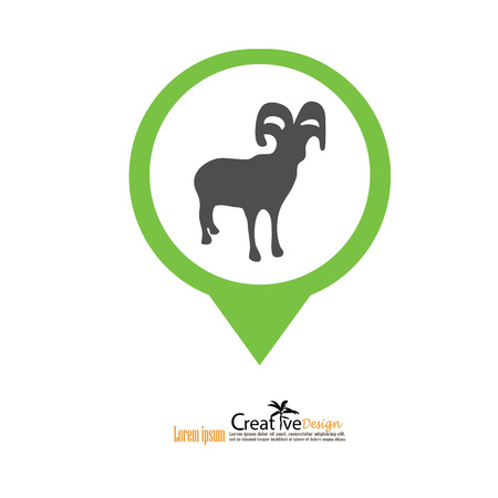 goat.goat icon with map pointer.vector illustration.
