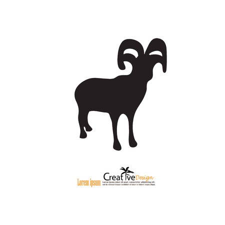 trademark: goat.goat icon with map pointer.vector illustration.