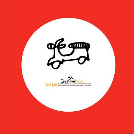 vespa: scooter hand drawn icon.hand graphics Vespa scooter.vector illustration.