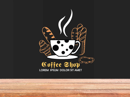 Coffee and bakery hand-drawn on chalkboard with counter.use for your products