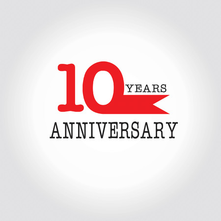 10 years: 10 years  anniversary.vector illustration.eps10.