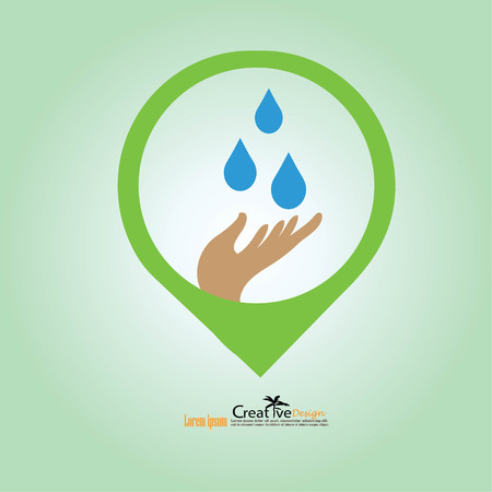 water drop in hand.eco sign.vector illustration.