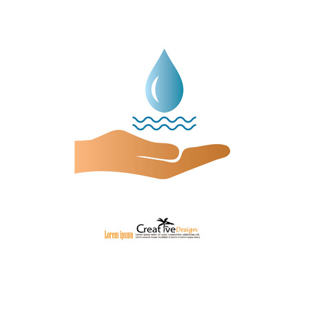 water drop in hand.eco sign.vector illustration. Banco de Imagens - 72875877