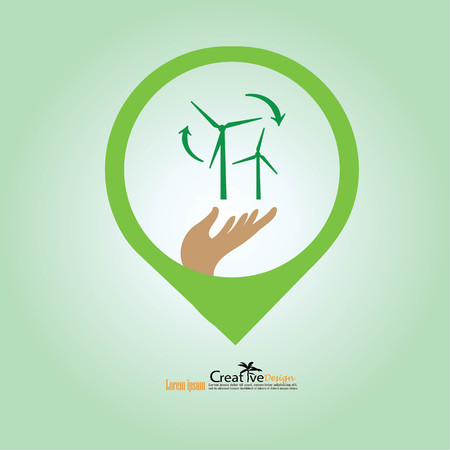wind turbines in the hand.eco concept.vector illustration.