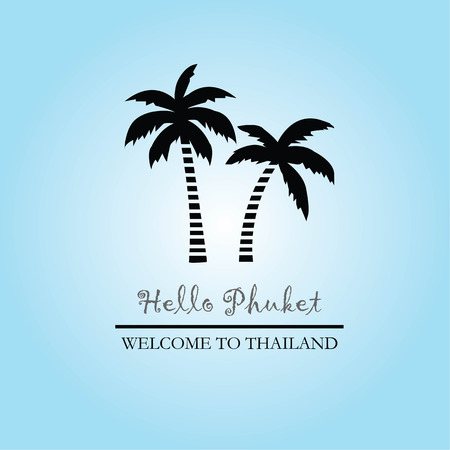 template of travel Phuket thailand with coconut tree.vector illustration.eps10.