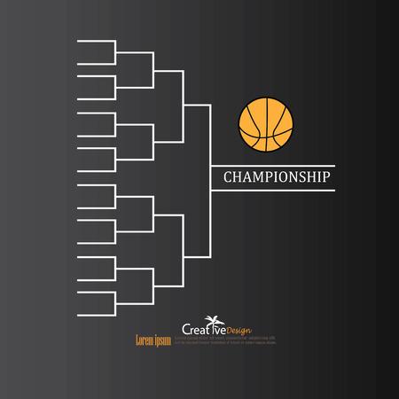tourney: blank basketball tournament bracket on chalkboard.vector illustration. Illustration