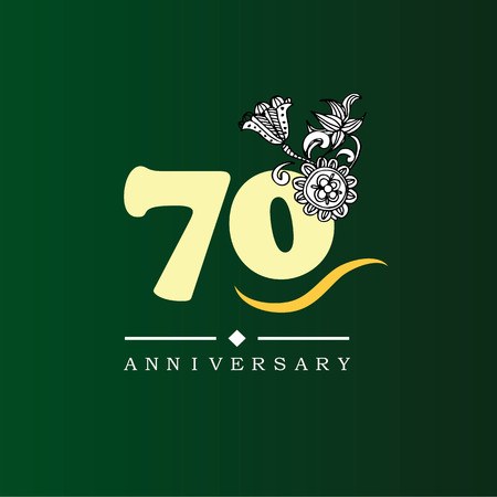 70 years anniversary with doodle flowers.vector illustration.eps10.