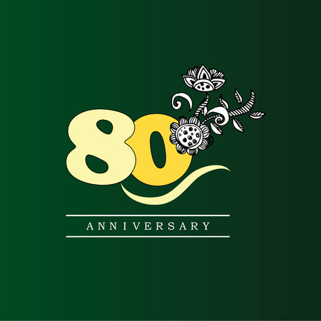 80 years anniversary with doodle flowers.vector illustration.eps10.