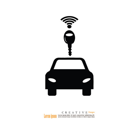 Car Transmission: Carwifi icon.car with wifi wave on a white background Illustration