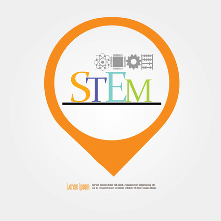 STEM education.Science, Technology, Engineering and Math education.vector illustration.