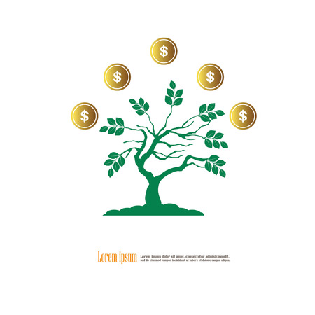 Tree with coin icon.finance concept. Vector illustration. Illustration