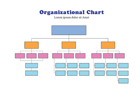 Organigramm Infographics.Business Chart Arbeitsprozess, Vector Illustration.