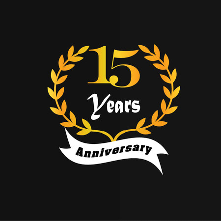 number 15: 15  years anniversary.vector illustration.eps10. Illustration