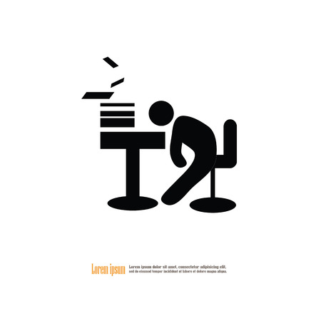 workday: Business office tired worker.asleep man icon.vector illustration.