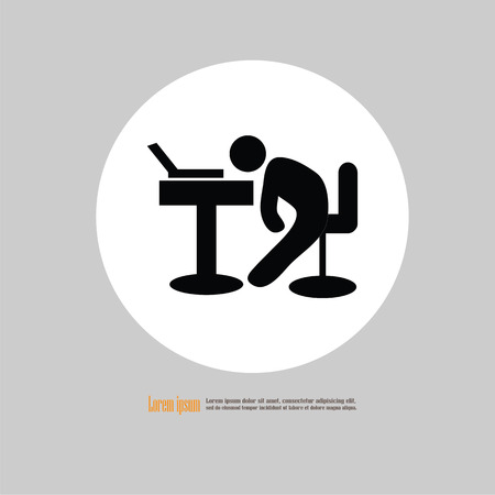 Business office tired worker.asleep man icon.vector illustration.