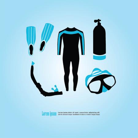 Scuba diving set.vector illustration.