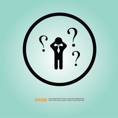 inquiry: Human icon.business man with question mark sign.man confused. vector illustration.
