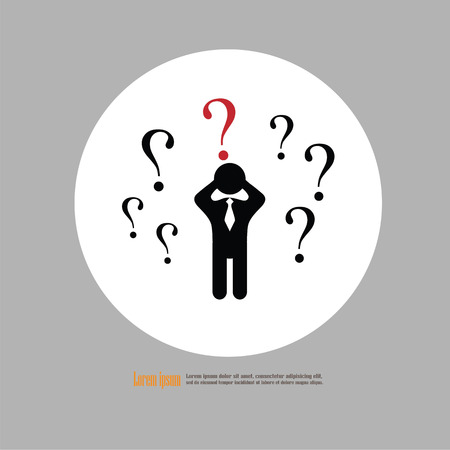 Human icon. Business man with question mark sign. Man confused. Vector illustration.