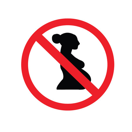 no pregnant woman sign.vector illustration symbol of danger for pregnant women.no entry.prohibit sign.vector illustration.